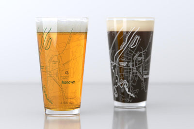 Hanover, NH - Dartmouth College - College Town Map Pint Glass Pair