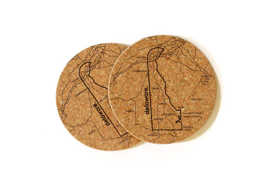 Delaware - Cork Coaster Pair