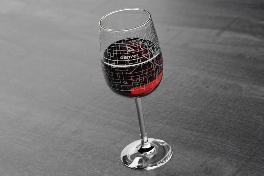 Denver Map Wine Glass