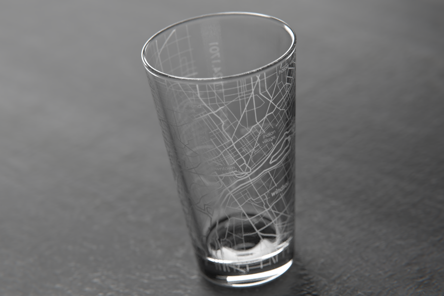 Detroit Map Pint Glass