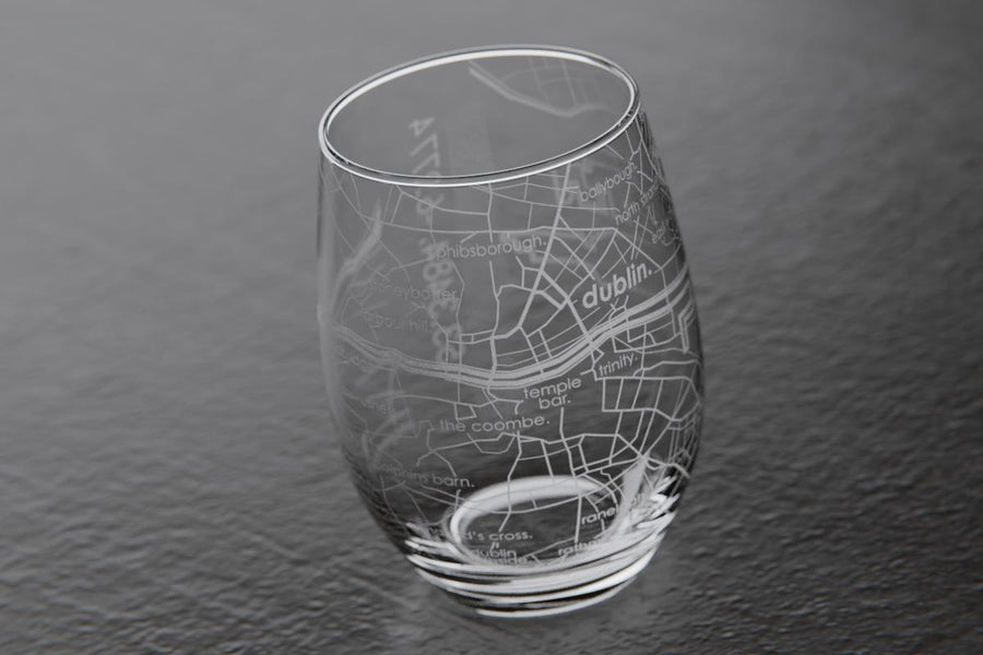 Dublin Ireland Map Stemless Wine Glass