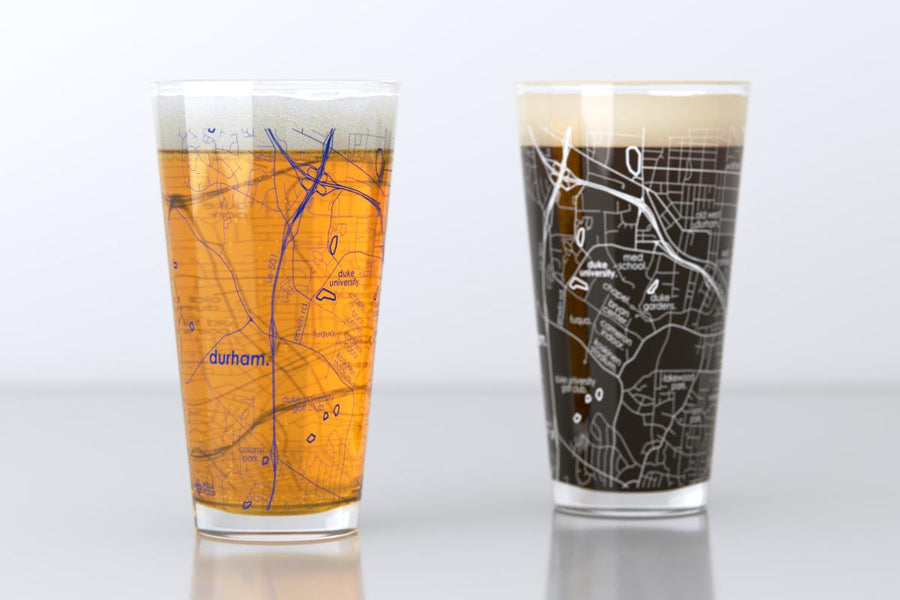 Durham, NC - Duke University - College Town Map Pint Glass Pair