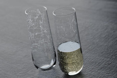 Custom Constellation Stemless Champagne Flute Pair