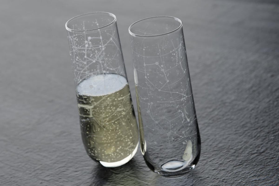 Custom Night Sky Stemless Champagne Flute Pair