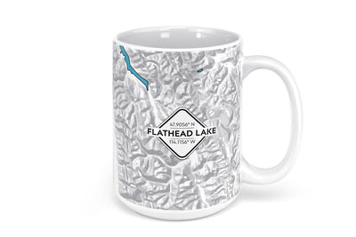 Flathead Lake Map Mug - 15oz