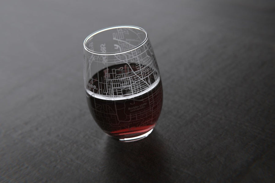 Tallahassee, FL - Florida State - College Town Maps Stemless Wine Glass