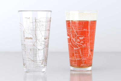 Atlanta, GA - Georgia Tech - College Town Map Pint Glass Pair