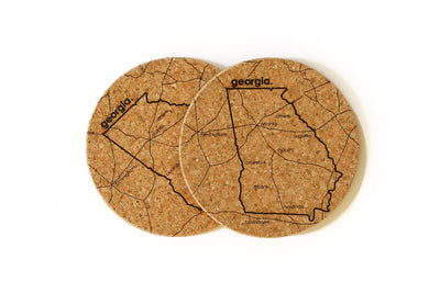 Georgia - Cork Coaster Pair