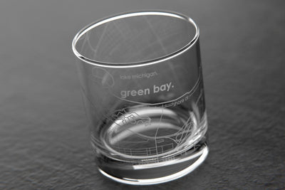 Green Bay WI Map Rocks Glass