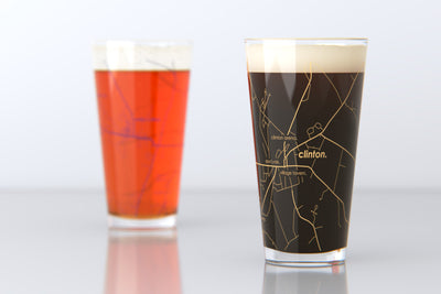 Clinton, NY - Hamilton College - College Town Map Pint Glass Pair