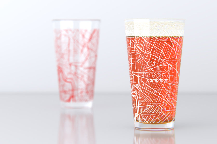 Cambridge, MA - Harvard University - College Town Map Pint Glass Pair