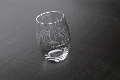Cambridge, MA - Harvard University - College Town Maps Stemless Wine Glass