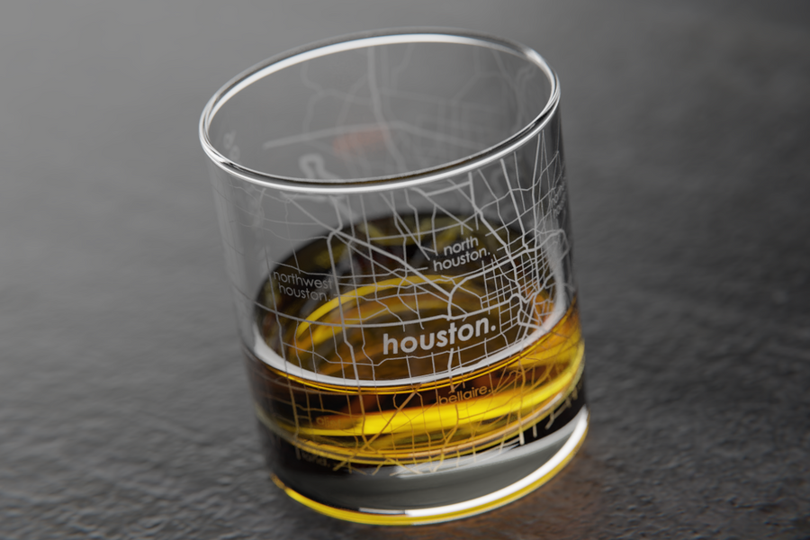 Houston Map Rocks Glass