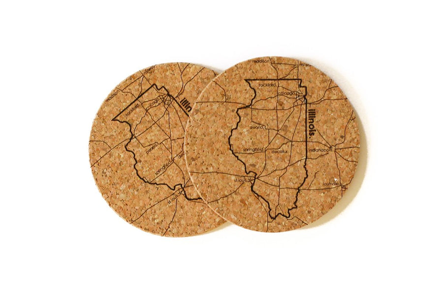 Illinois - Cork Coaster Pair