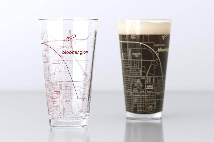 Bloomington, IN - Indiana University - College Town Map Pint Glass Pair