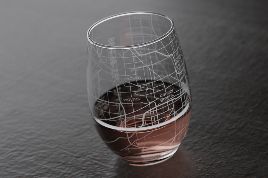 Indianapolis Map Stemless Wine Glass