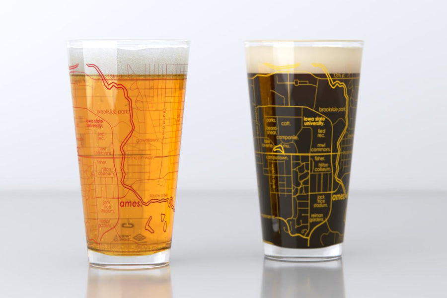 Ames, IA - Iowa State - College Town Map Pint Glass Pair