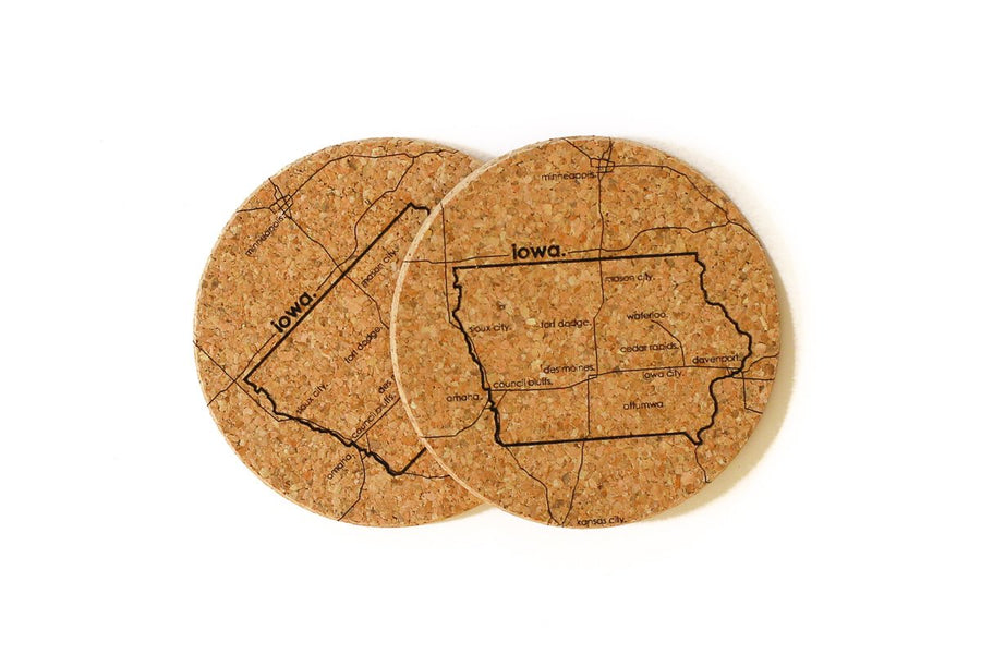 Iowa - Cork Coaster Pair