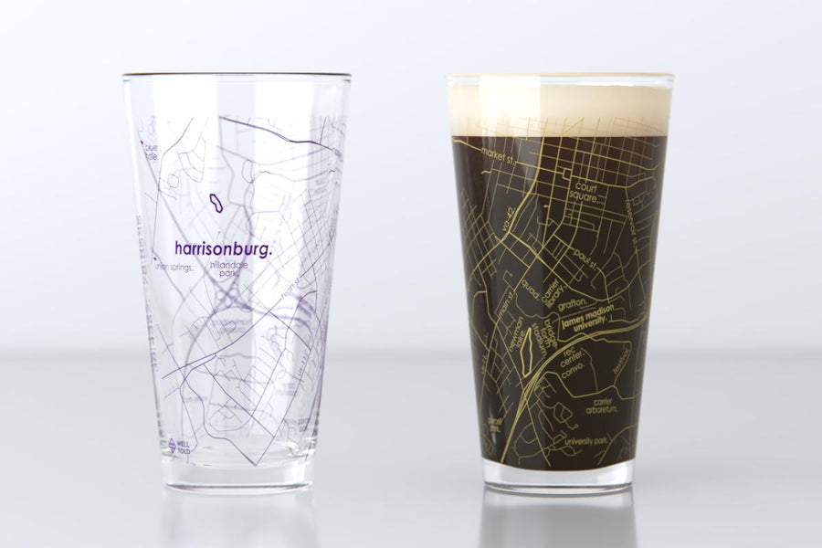 Harrisonburg, Virginia - James Madison University - College Town Map Pint Glass Pair