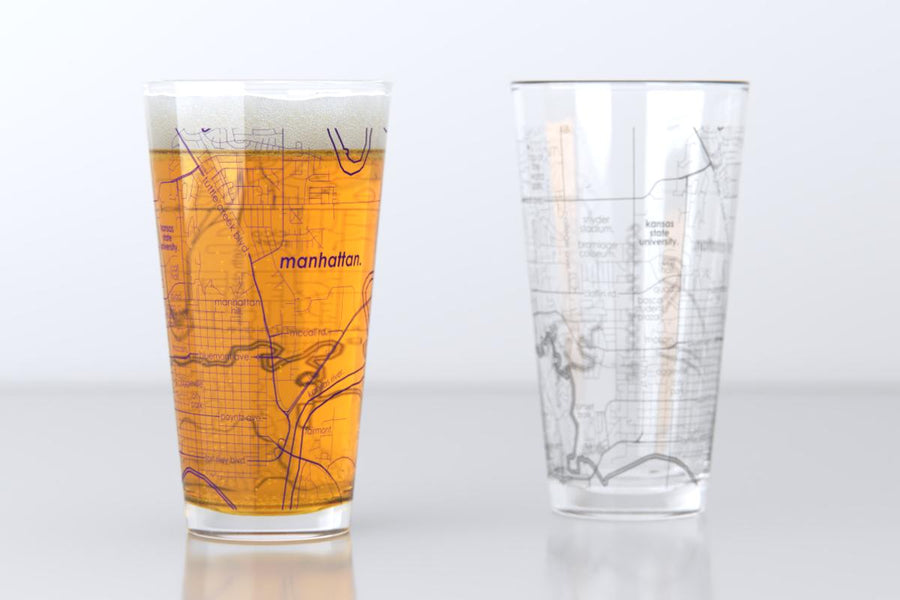 Manhattan, KS - Kansas State - College Town Map Pint Glass Pair