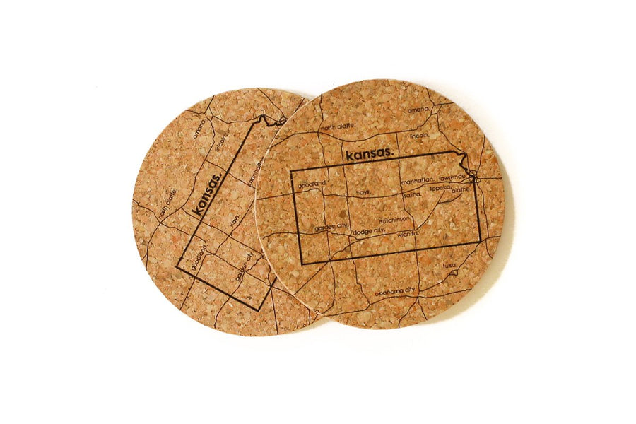 Kansas - Cork Coaster Pair
