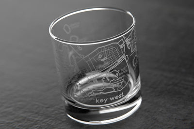 Key West FL Map Rocks Glass