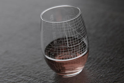 Las Vegas NV Map Stemless Wine Glass