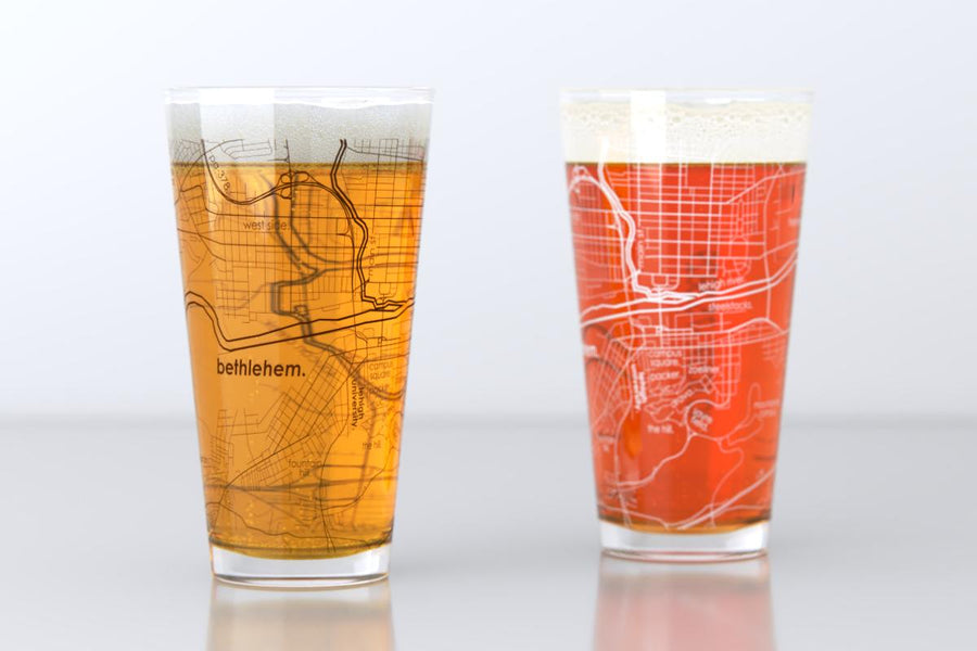 Bethlehem, PA - Lehigh University - College Town Map Pint Glass Pair