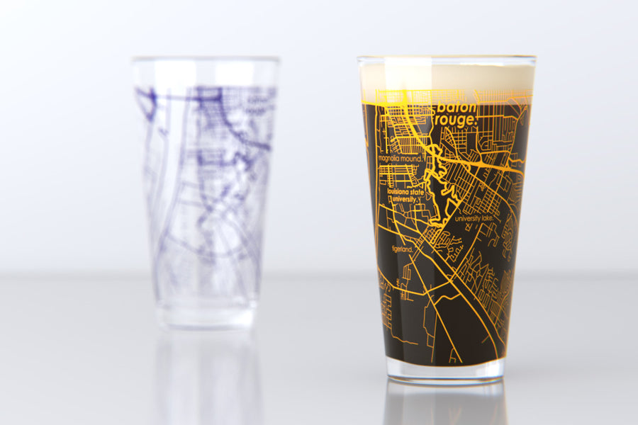 Baton Rouge, LA - LSU - Louisiana State University - College Town Map Pint Glass Pair