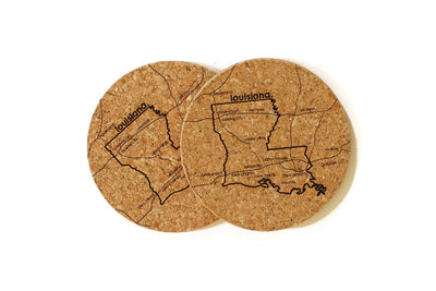 Louisiana - Cork Coaster Pair