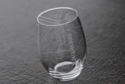 Louisville KY Map Stemless Wine Glass