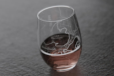 Madison WI Map Stemless Wine Glass