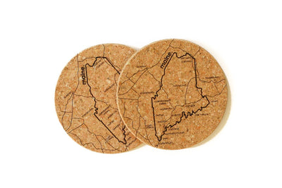 Maine - Cork Coaster Pair
