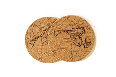 Maryland - Cork Coaster Pair
