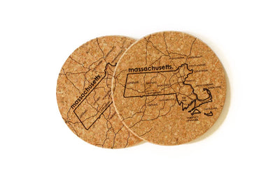 Massachusetts - Cork Coaster Pair
