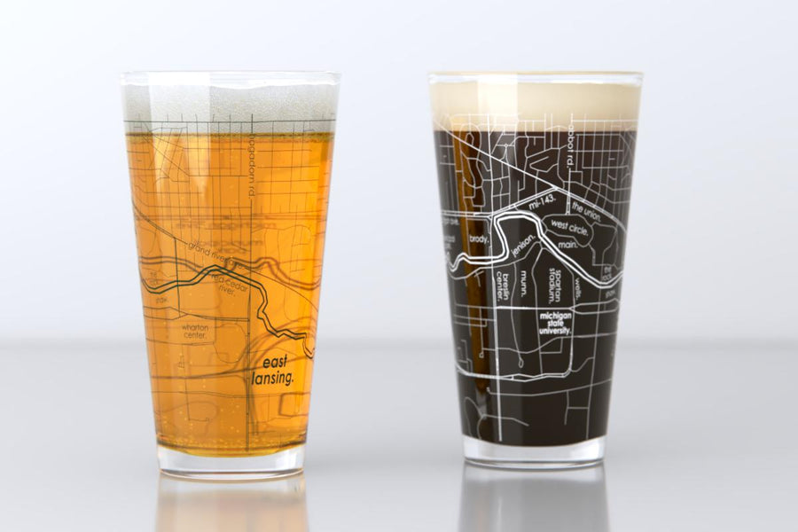 East Lansing, MI - Michigan State - College Town Map Pint Glass Pair