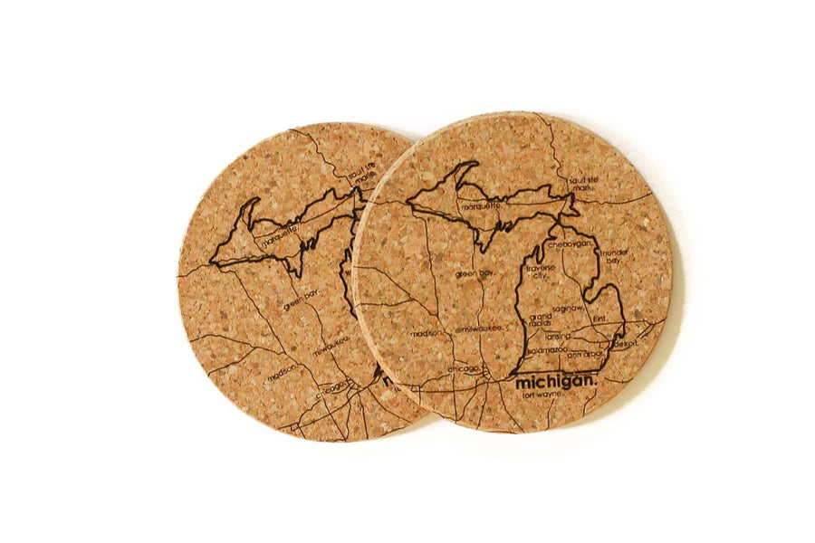 Michigan - Cork Coaster Pair