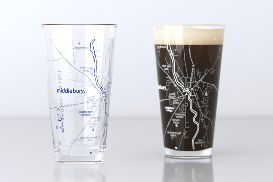 Middlebury, VT - Middlebury College - College Town Map Pint Glass Pair