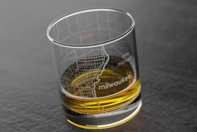 Milwaukee Map Rocks Glass