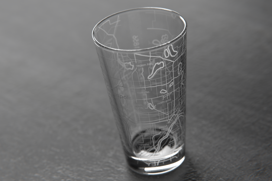 Minneapolis/St. Paul Map Pint Glass