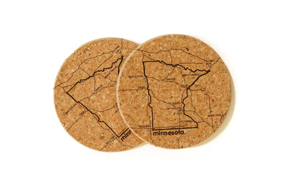 Minnesota - Cork Coaster Pair