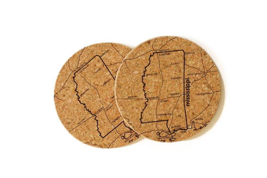 Mississippi - Cork Coaster Pair