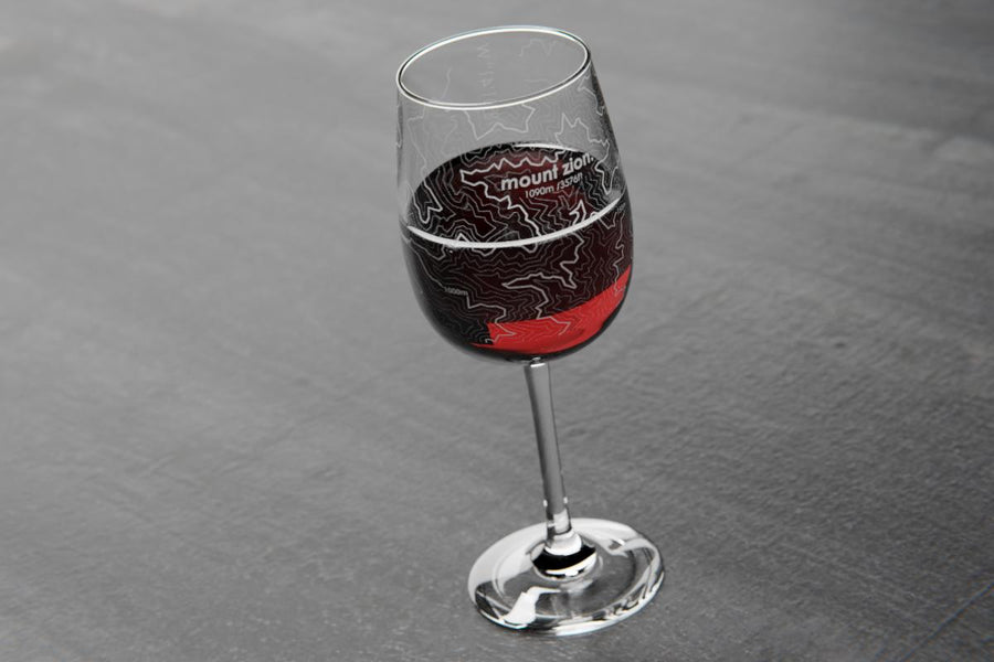 Topography Maps Stemmed Wine Glass