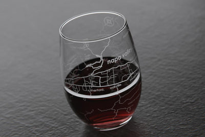 Napa Valley Region Map Stemless Wine Glass