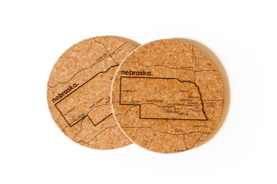 Nebraska - Cork Coaster Pair