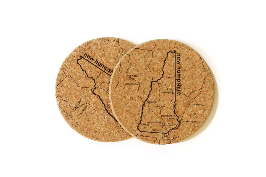 New Hampshire - Cork Coaster Pair