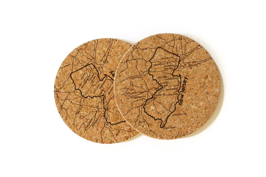 New Jersey - Cork Coaster Pair