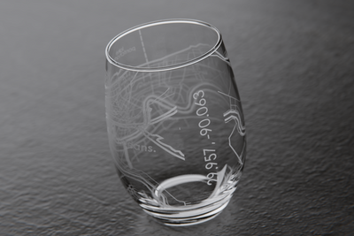 New Orleans Map Stemless Wine Glass