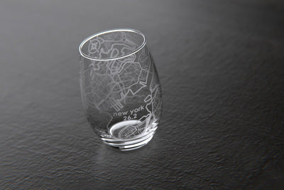 New York City 26.2 - Marathon Map Stemless Wine Glass
