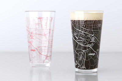 Raleigh, NC - NC State Univ - College Town Map Pint Glass Pair
